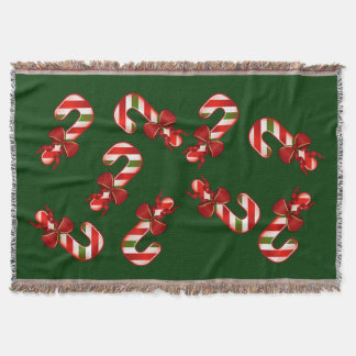 Christmas Candy Canes in RED and GREEN  C02 Throw Blanket