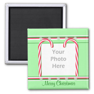 Christmas Candy Canes on Green (photo frame) Magnet