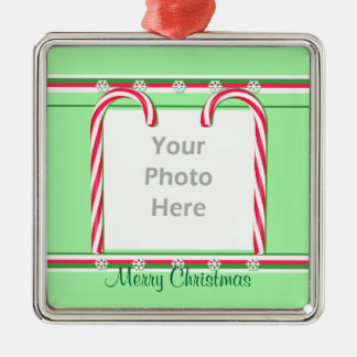 Christmas Candy Canes on Green (photo frame) Square Metal Christmas Ornament