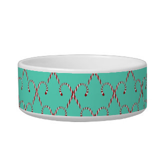 Christmas Candy Canes Cat Bowl