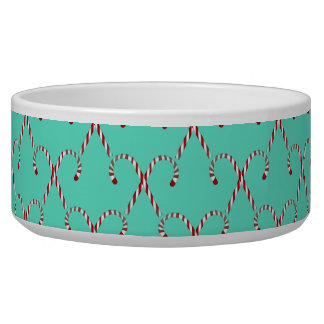 Christmas Candy Canes Dog Food Bowl