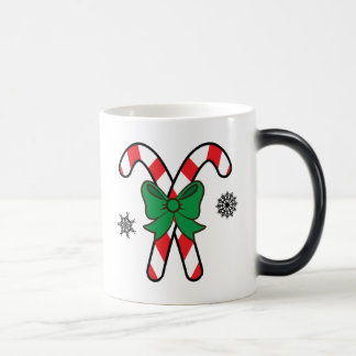 Christmas Candy Canes Tied with a Red Bow Magic Mug