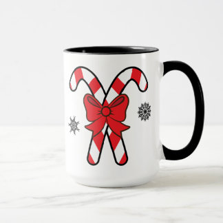 Christmas Candy Canes Tied with a Red Bow Mug