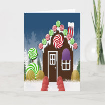 Christmas Candy Cozy Cabin Gingerbread House Holiday Card