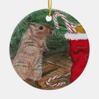 Christmas Candy Gerbil Christmas Ornament