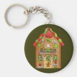 Christmas Candy Gingerbread House Basic Round Button Keychain