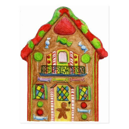 Christmas Candy Gingerbread House Post Card