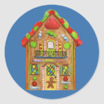 Christmas Candy Gingerbread House Round Stickers