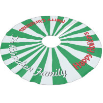 Christmas Candy Green YOUR NAME HERE Tree Skirt