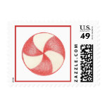 Christmas Candy Holiday Peppermint Postage Stamp