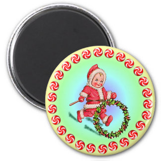 CHRISTMAS CANDY & HOLLY by SHARON SHARPE Refrigerator Magnet