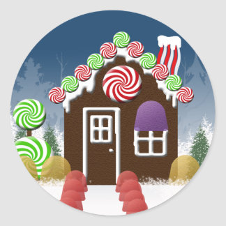 Christmas Candy House Holiday Envelope Seals Classic Round Sticker