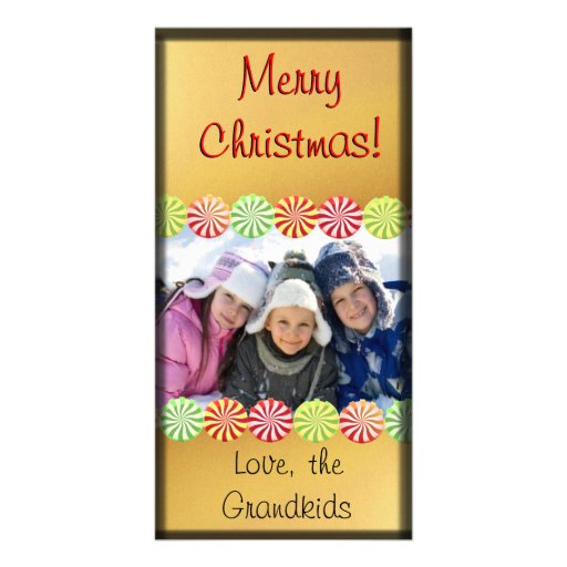 Christmas Candy Photo Card Gold Black