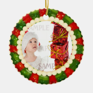 Christmas Candy Photo Template 2 Sided Ceramic Ornament