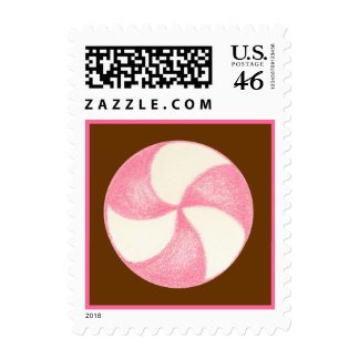 Christmas Candy Pink  Postage Stamp