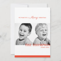 Christmas candy red stripe two photo holiday card