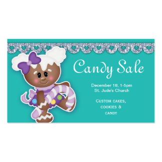 Christmas Candy Sale Business Card Gingerbread