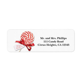 Christmas Candy Sucker with Greeting Holiday Label