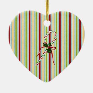Christmas candycane ceramic ornament