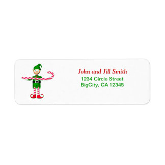 Christmas Candycane Elf Label