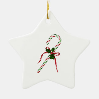 Christmas candycane Double-Sided star ceramic christmas ornament