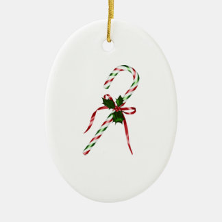 Christmas candycane Double-Sided oval ceramic christmas ornament