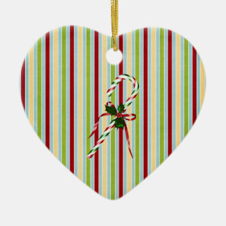Christmas candycane Double-Sided heart ceramic christmas ornament