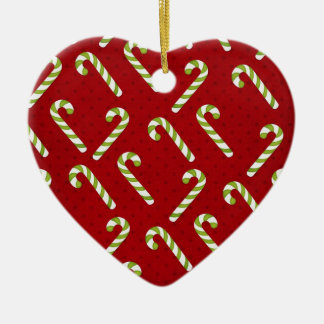 Christmas candycanes Double-Sided heart ceramic christmas ornament