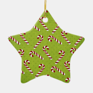 Christmas candycanes Double-Sided star ceramic christmas ornament