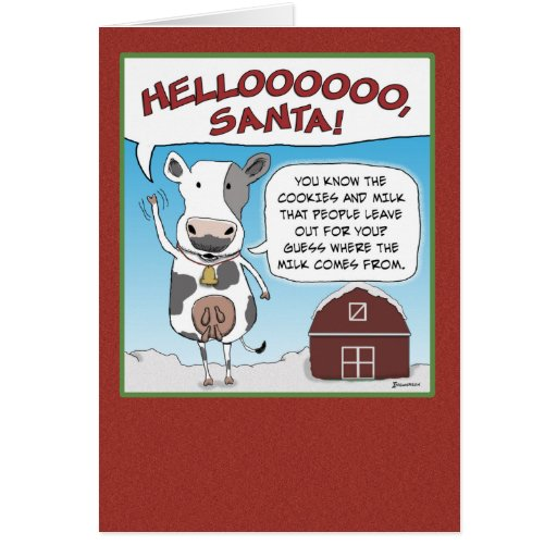 Christmas card: A cow's reminder to Santa