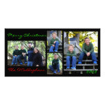 Christmas Card - Black Background Personalized Photo Card