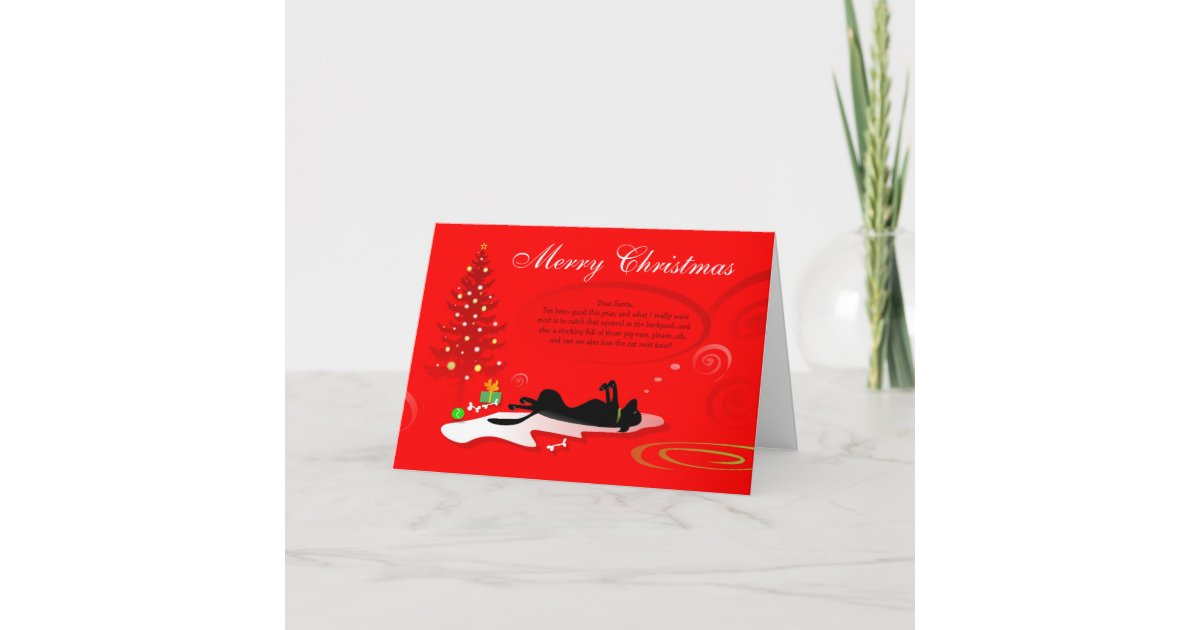 Christmas Card - Black Labrador Dog- Red | Zazzle.com