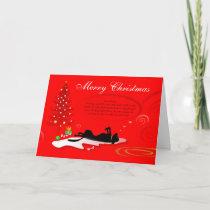 Christmas Card - Black Labrador Dog-Red