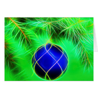 Christmas card blue bauble with fir branch