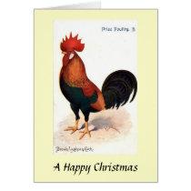 Christmas Card - Brown Leghorn Cock