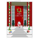 Christmas Card - Bulldog on Porch  Christmas