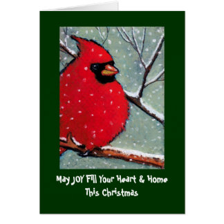 CHRISTMAS CARD CARDINAL BIRD PASTEL ART