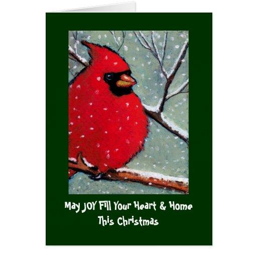 CHRISTMAS CARD: CARDINAL, BIRD, PASTEL ART CARD