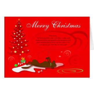 Christmas Card Chocolate Labrador - Red with Poem