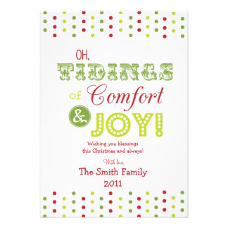 "Christmas Card--""Comfort & Joy"" Design-Personalize Custom Invitations"