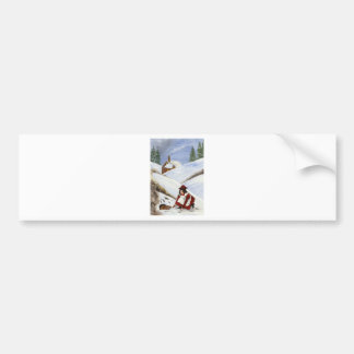 Christmas Card Cottage and Rabbit Bumper Sticker