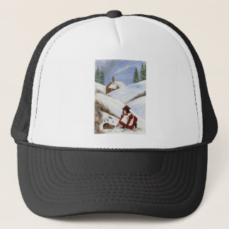 Christmas Card Cottage and Rabbit Trucker Hat