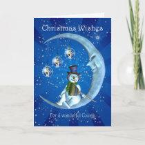 Christmas card, Cousin Christmas, Snowman on the M Holiday Card