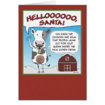 Christmas card: Cow's Reminder to Santa Card