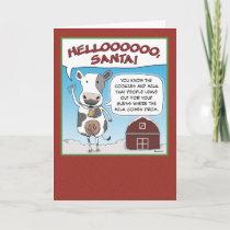 Christmas card: Cow's Reminder to Santa Holiday Card