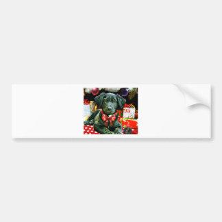 Christmas Card -Cute Puppy Bumper Sticker