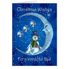 Christmas card, Dad Christmas, Snowman on the Moon Card at Zazzle