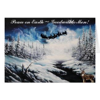 Christmas Card, Deer and santa clause flying Card