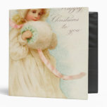 Christmas card depicting a girl with a muff binder