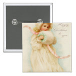 Christmas card depicting a girl with a muff pinback button